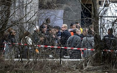 A group of people, including relatives of the Germanwings Airbus A320 crash victims, arrive in Seyne-les-Alpes on March 26, 2015. (photo credit: AFP/JEFF PACHOUD)