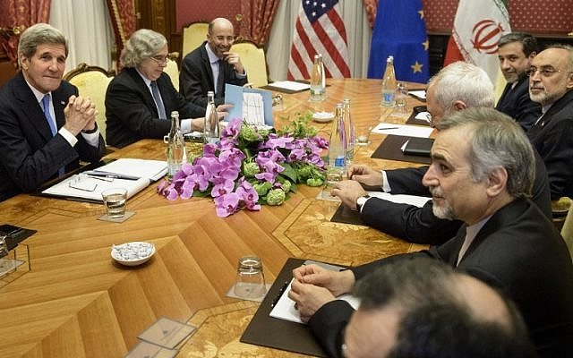 Iranian and American officials meeting at the Beau Rivage Palace Hotel on March 29, 2015 in Lausanne. (photo credit: AFP/POOL/BRENDAN SMIALOWSKI)