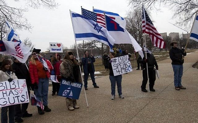 Supporters of Israel rally at the US Capitol where Prime Minister Benjamin Netanyahu was addressing a joint session of Congress in Washington, DC, on March 3, 2015 (Photo credit: Andrew Cabarello-Reynolds/AFP)