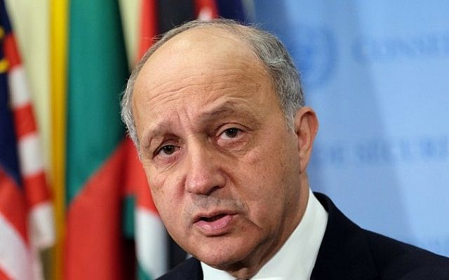French Foreign Minister Laurent Fabius on March 27, 2015. (photo credit: AFP/JEWEL SAMAD)
