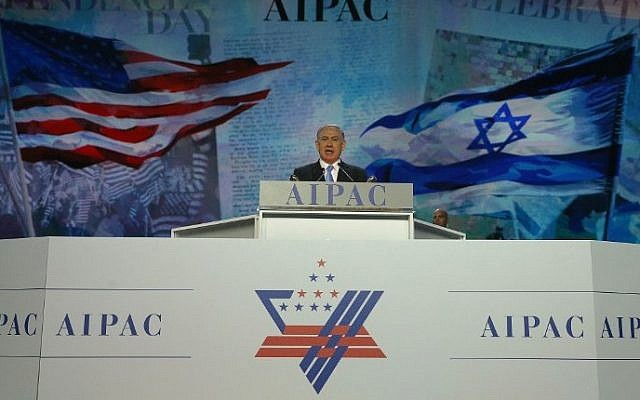 Prime Minister Benjamin Netanyahu speaks during the AIPAC 2015 Policy Conference in Washington, DC, March 2, 2015. (Mark Wilson/Getty Images/AFP)