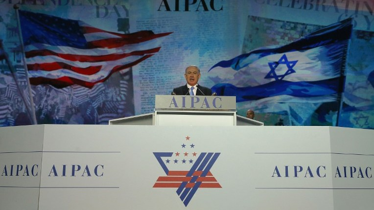 Prime Minister Benjamin Netanyahu speaks during the American Israel Public Affairs Committee (AIPAC) 2015 Policy Conference, March 2, 2015 in Washington, DC. (photo credit: Mark Wilson/Getty Images/AFP)