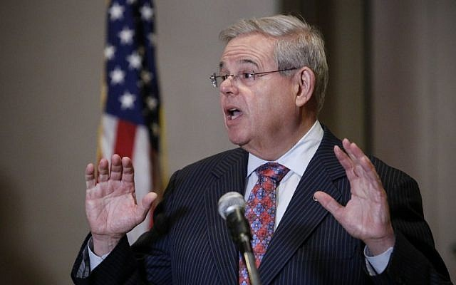 Sen. Robert Menendez speaks at a press conference on March 6, 2015 in Newark New Jersey. (photo credit: Kena Betancur/Getty Images/AFP)