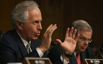 Senator Bob Corker (left), speaks while flanked by ranking member Sen. Bob Menendez during a Senate Foreign Relations Committee hearing on Capitol Hill, in Washington, DC, March 11, 2015 (photo credit: Mark Wilson/Getty Images/AFP)