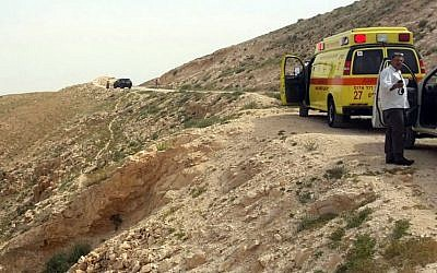MDA emergency response teams at the scene where an elderly woman plunged to her death in Wadi Qelt, near Jerusalem, March 28, 2015. (photo credit: MDA)
