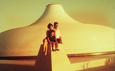 A family visiting the Israel Museum's Shrine of the Book in 1965, when the iconic institution first opened. (Courtesy Israel Museum)