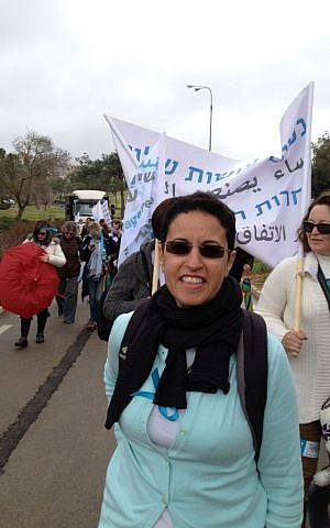 Women Wage Peace activist Yael Elad marches in Jerusalem, March 4, 2015 (photo credit: Elhanan Miller/Times of Israel)