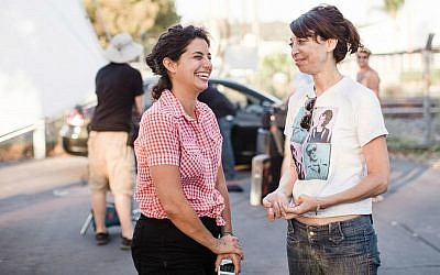 Jessie Kahnweiler (left) and Illeana Douglas on the set of 'The Skinny.' (photo credit: Amanda Hankerson)