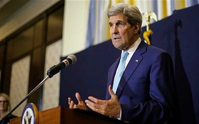US Secretary of State John Kerry speaks at a news conference in Sharm el-Sheikh, Egypt, Saturday, March 14, 2015 (photo credit: AP/Brian Snyder, Pool)