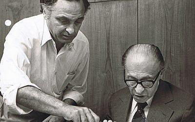 Yehuda Avner (left) at work with Prime Minister Menachem Begin in 1980. (Courtesy of Moriah Films)