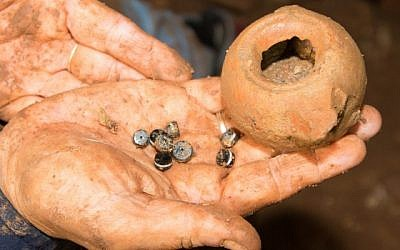 Some of ancient artifacts from the time of Alexander the Great, found in a hidden in cave in northern Israel, February 2015. (photo credit: Clara Amit/Israel Antiques Authority)