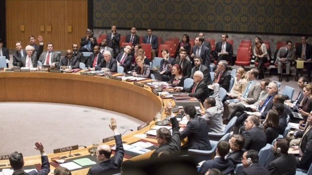 The UN Security Council voting on a resolution on Palestinian statehood on December 30, 2014. The resolution was voted down. (photo credit: UN/Evan Schneider)
