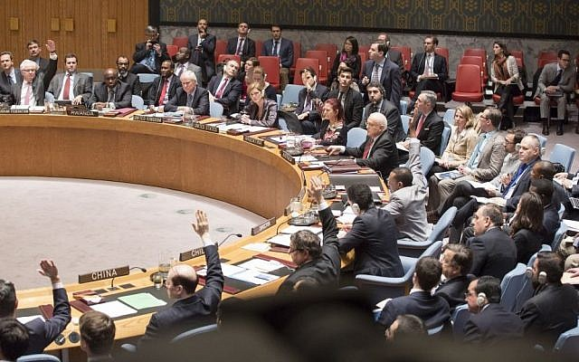 The UN Security Council voting on a resolution on Palestinian statehood on December 30, 2014. The resolution was voted down. (UN/Evan Schneider)