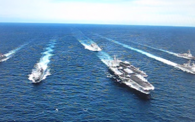 A contingent of the US 7th Fleet, the largest of the forward-deployed US fleets. (screen capture: YouTube)