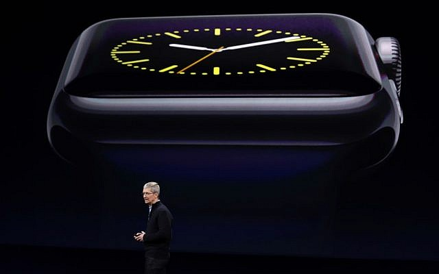 Apple CEO Tim Cook talks about the new Apple Watch during an Apple event on Monday, March 9, 2015, in San Francisco (AP Photo/Eric Risberg)
