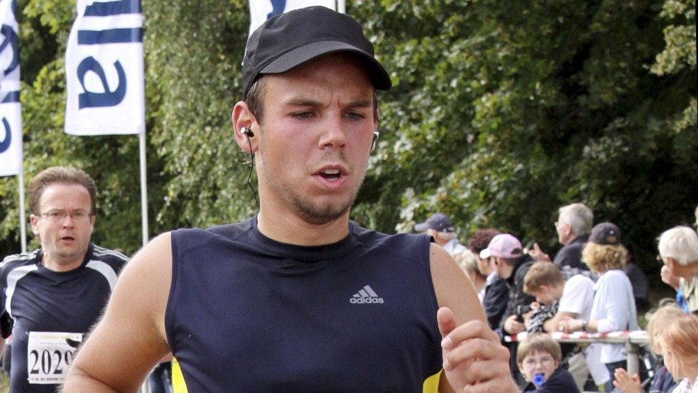 In this Sunday, Sept. 13, 2009 photo, Andreas Lubitz competes at the Airportrun in Hamburg, northern Germany. Germanwings co-pilot Lubitz appears to have hidden evidence of an illness from his employers, including having been excused by a doctor from work the day he crashed a passenger plane into a mountain, prosecutors said. (photo credit: AP Photo/Michael Mueller)
