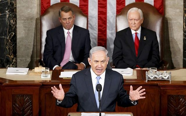 Prime Minister Benjamin Netanyahu speaks before a joint meeting of Congress on Capitol Hill in Washington, Tuesday, March 3, 2015 (AP Photo/Andrew Harnik)