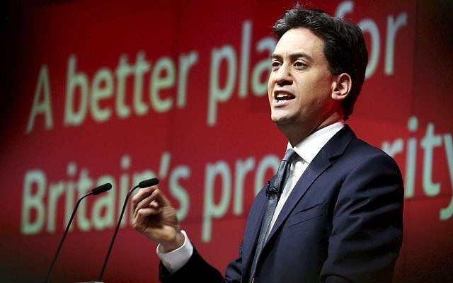 """Britain's Labour party leader Ed Miliband speaks at the launch of his party's business """"mini-manifesto"""" in London Monday March 30, 2015. (photo credit: AP Photo/Chris Radburn/PA)"""