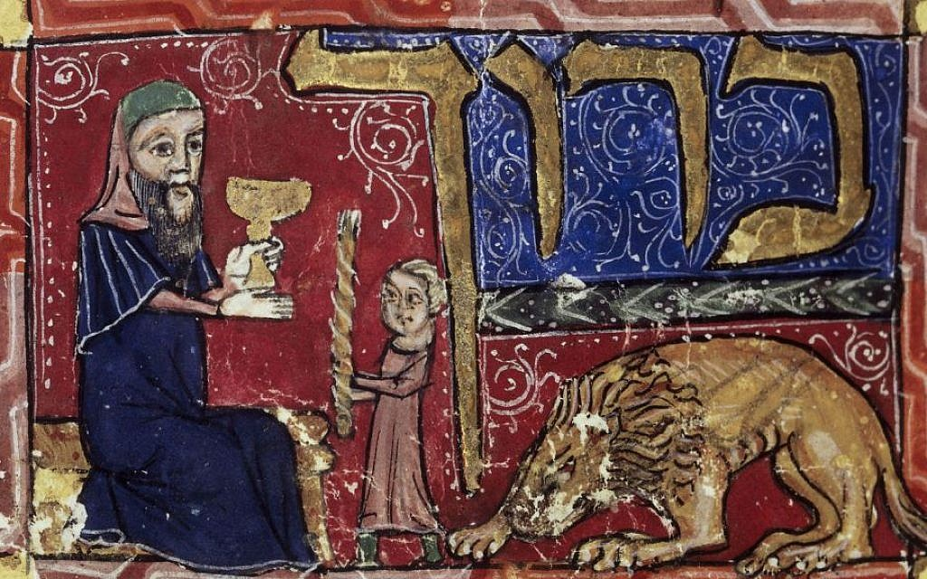 Detail of a historiated initial-word panel: Barukh (blessed) at the beginning of the benediction for the ending of the Shabbat (Havdalah ceremony). An elderly man lifts a goblet while performing the Havdalah blessing over a twisted candle held by a young boy. Origin: Catalonia/Barcelona (public domain)