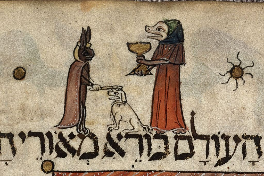Detail of a page: miniature of a pig-like figure lifting the first cup of wine and a hare placing a stick upon a dog's head. Origin: Catalonia/Barcelona (public domain)