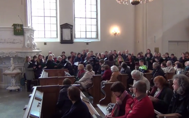 Inside the Evangelical Reformed Church in Vilnius, Lithuania. (screen capture: YouTube)