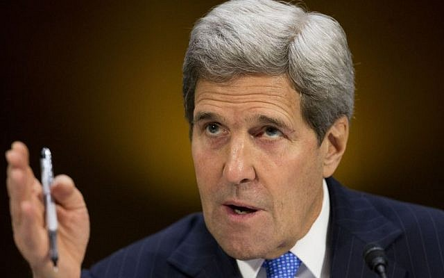 US Secretary of State John Kerry testifies on Capitol Hill in Washington, Wednesday, March 11, 2015, before the Senate Foreign Relations Committee. (Photo credit: AP/Pablo Martinez Monsivais)