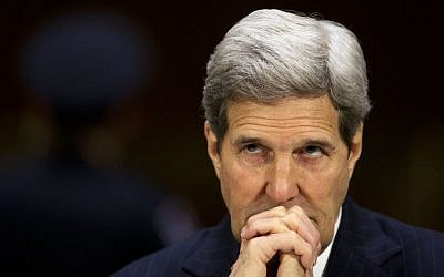 US Secretary of State John Kerry listens to opening statements on Capitol Hill in Washington, Wednesday, March 11, 2015, prior to testifying before the Senate Foreign Relations Committee. (photo credit: AP/Pablo Martinez Monsivais)