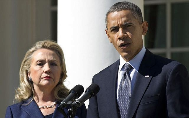 Then-US president Barack Obama (right), accompanied by then-secretary of state Hillary Clinton, speaks in the Rose Garden of the White House in Washington, DC, September 12, 2012. (AP/Manuel Balce Ceneta, File)