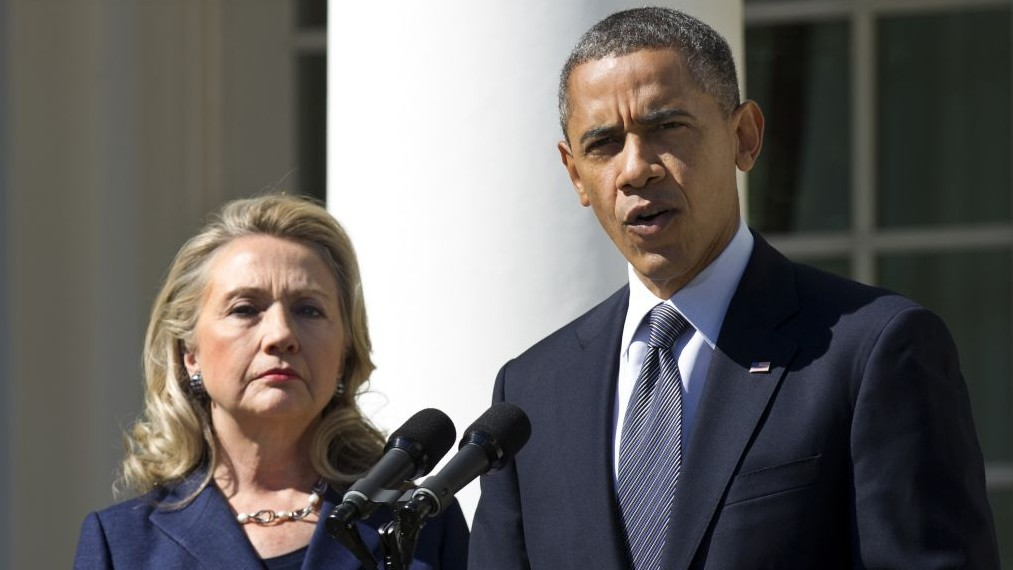 FILE: US President Barack Obama, accompanied by then-Secretary of State Hillary Rodham Clinton, speaks in the Rose Garden of the White House in Washington, September 12, 2012 (Manuel Balce Ceneta/AP)