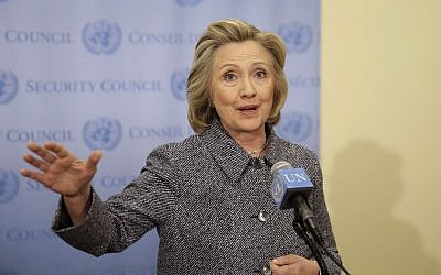 Hillary Clinton speaks to reporters at United Nations headquarters, March 10, 2015. (photo credit: AP/Seth Wenig)