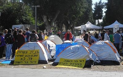 Tents on Rothschild Boulevard, March 2, 2015, reminiscent of the 2011 summer of social justice protests were part of an effort by activist Shay Cohen to bring the election discussion back to economic issues. (Melanie Lidman/Times of Israel)