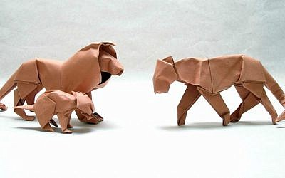Passover paper animals? David Brill's creatures, from the recently opened origami exhibit at the Old Jaffa Museum (Courtesy Old Jaffa Museum)