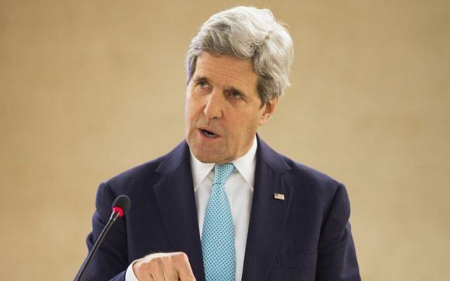 US Secretary of State John Kerry (photo credit: AFP/Evan Vucci, Pool)