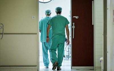 Illustrative photo of doctors on their way to an emergency room, October 31, 2012. (Moshe Shai/Flash90)
