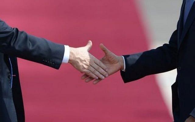 Illustration of a handshake. (photo credit: Kobi Gideon/GPO/FLASH90)