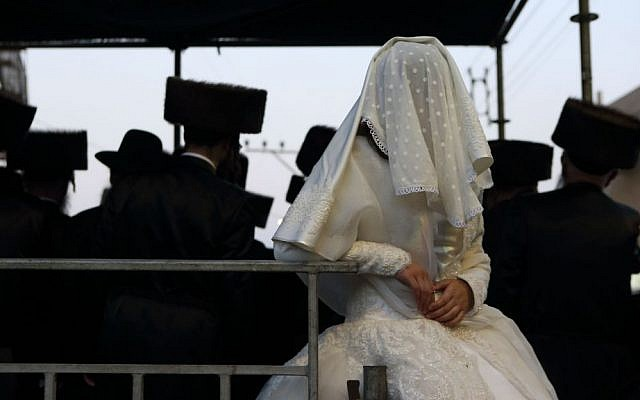 An ultra-orthodox Jewish bride at her wedding in 2013. (Illustrative photo by Yaakov Naumi/Flash90)