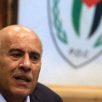 Head of the Palestinian Football Association Jibril Rajoub speaks during a press conference in Ramallah, February 12, 2014. (Issam Rimawi/Flash90)