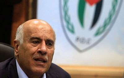 Head of the Palestinian Football Association Jibril Rajoub speaks during a press conference in Ramallah on February 12, 2014. (photo credit: Issam Rimawi/Flash90)