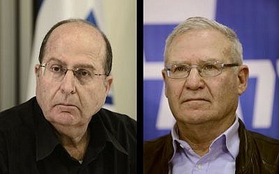 Moshe Ya'alon, left, and Amos Yadlin (photo composite: Tomer Neuberg/Flash90)
