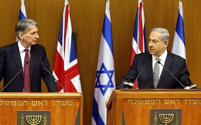 Prime Minister Benjamin Netanyahu speaks during a joint press conference with British Foreign Secretary Philip Hammond at the Knesset, in Jerusalem on July 24, 2014. (photo credit: Flash90)