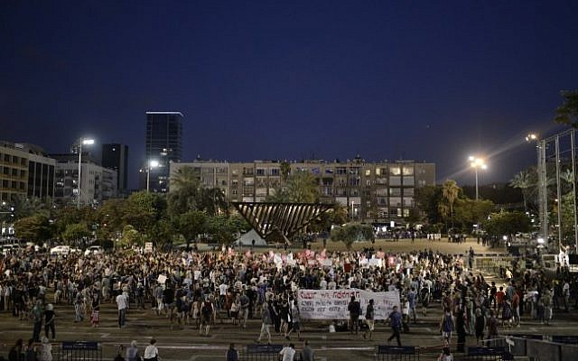 Illustrative photo of a political rally in Tel Aviv's Rabin Square. (photo credit: Tomer Neuberg/FLASH90)