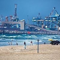 Illustrative: The port of the southern Israeli city of Ashdod, July 27, 2014. (Moshe Shai/Flash90)