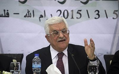 Palestinian Authority President Mahmoud Abbas speaks during a meeting of the Central Council of the PLO in the West Bank city of Ramallah, March 4, 2015. (photo credit: STR/Flash90)