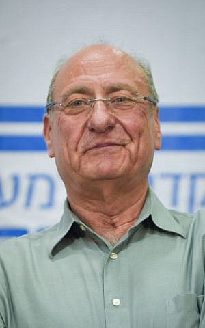 Maj. Gen. (ret) Amnon Reshef during a press conference on March 11, 2015, one week before Tuesday's elections (photo credit: Ben Kelmer/ Flash 90)