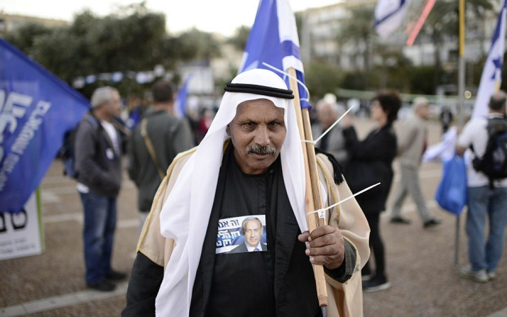 Right-wing supporters prepare for a rally in support of Prime Minister Benjamin Netanyahu at Rabin Square in Tel Aviv on March 15, 2015 (photo credit: Tomer Neuberg/Flash90