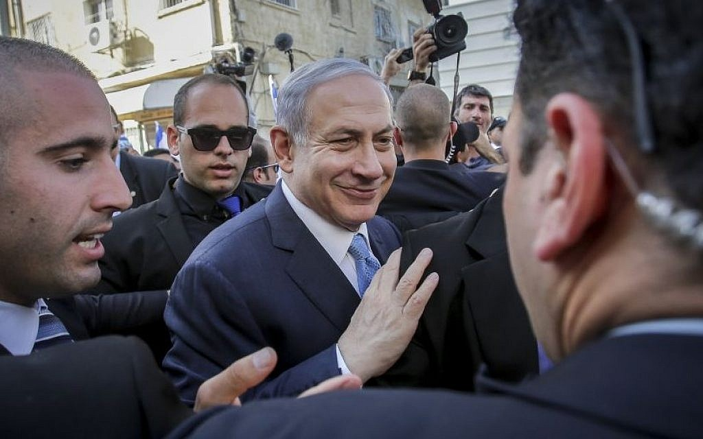 Prime Minister Benjamin Netanyahu in the southern city of Ashkelon on election day, March 17, 2015. (Photo credit: Edi Israel/Flash90)