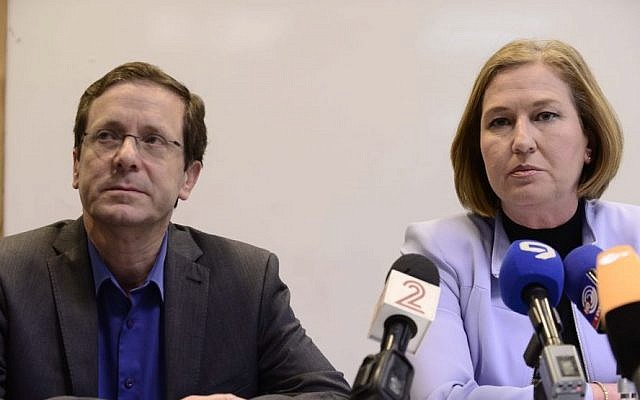 Zionist Union leaders MKs Isaac Herzog and Tzipi Livni at a press conference in Tel Aviv, March 18, 2015. (photo credit: Tomer Neuberg/Flash90)