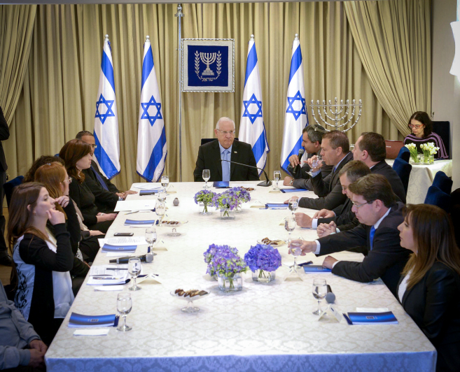 President Reuven Rivlin in Jerusalem on March 22, 2015, in a meeting with the Likud party. (photo credit: Mark Neyman/GPO)