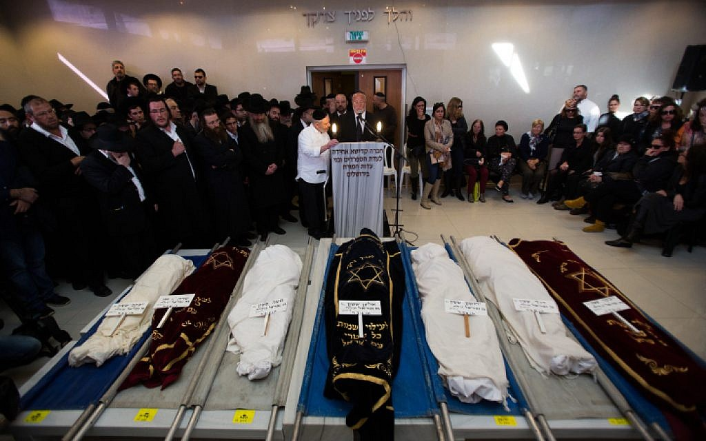 The funerals of the seven Sassoon children, who were killed in a deadly fire, in Jerusalem on March 23, 2015 (photo credit: Yonatan Sindel/Flash90)