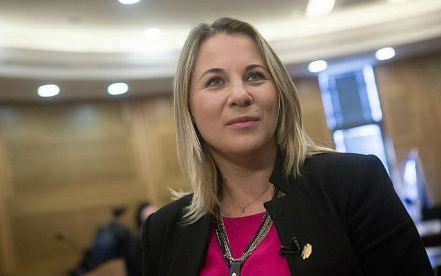 MK Ksenia Svetlova of the Zionist Union party as a new member of the Israeli Knesset, March 29, 2015. (Miriam Alster/FLASH90)